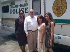 Teen Court Administrator LaVerne Dean, Captain Jeffrey Scott Dennis,  Teen Court Youth Volunteer Stephanie Palacios' mom Martha Jiron and Stephanie